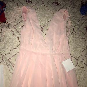 Pink peach long prom dress